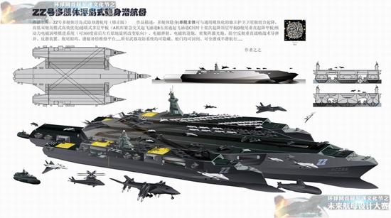 """一等奖作品:之之(杨技华)设计作品""""zz号三舰体浮岛式隐身潜航母"""""""