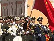 中国三军仪仗队亮相俄阅兵式