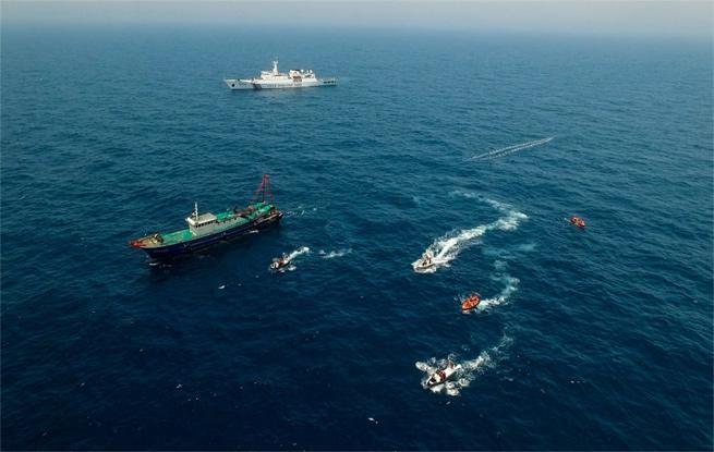 中越海警2017年第一次北部湾共同渔区海上联合检查结束