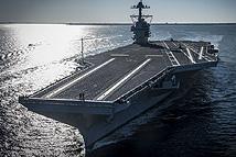 """美最新航母""""福特""""号首次自主动力航行"""