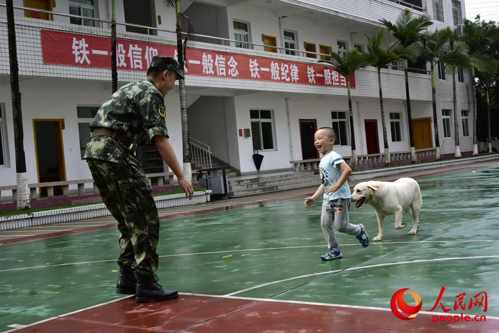 图为孩子和军爸开心地与军犬追逐