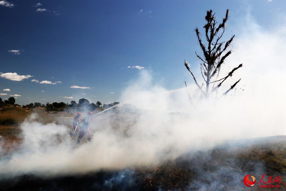 水泵分队利用附近水源扑打树冠火。