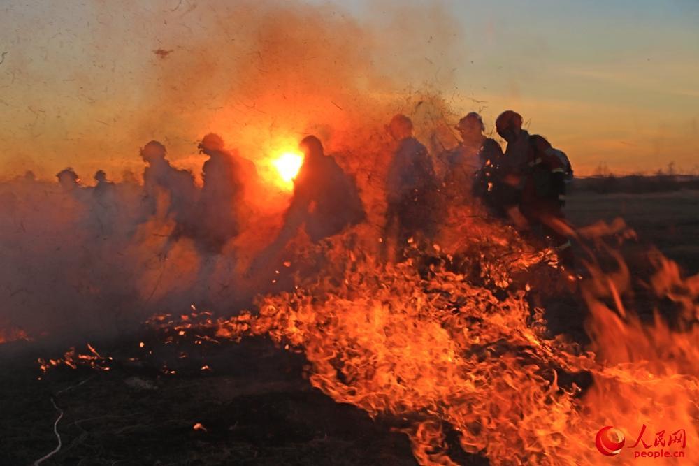 内蒙古森林消防总队开展森林草原灭火综合演练。张蒙摄