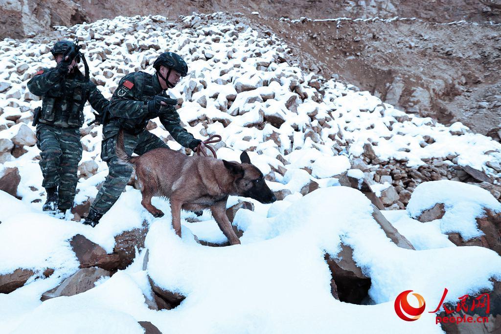 雪地。特战队员在平时经历的极限体能训练,让他们具备了超乎常人的耐力和体力。