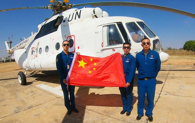 中国第三批维和直升机分队圆满完成2020年首飞