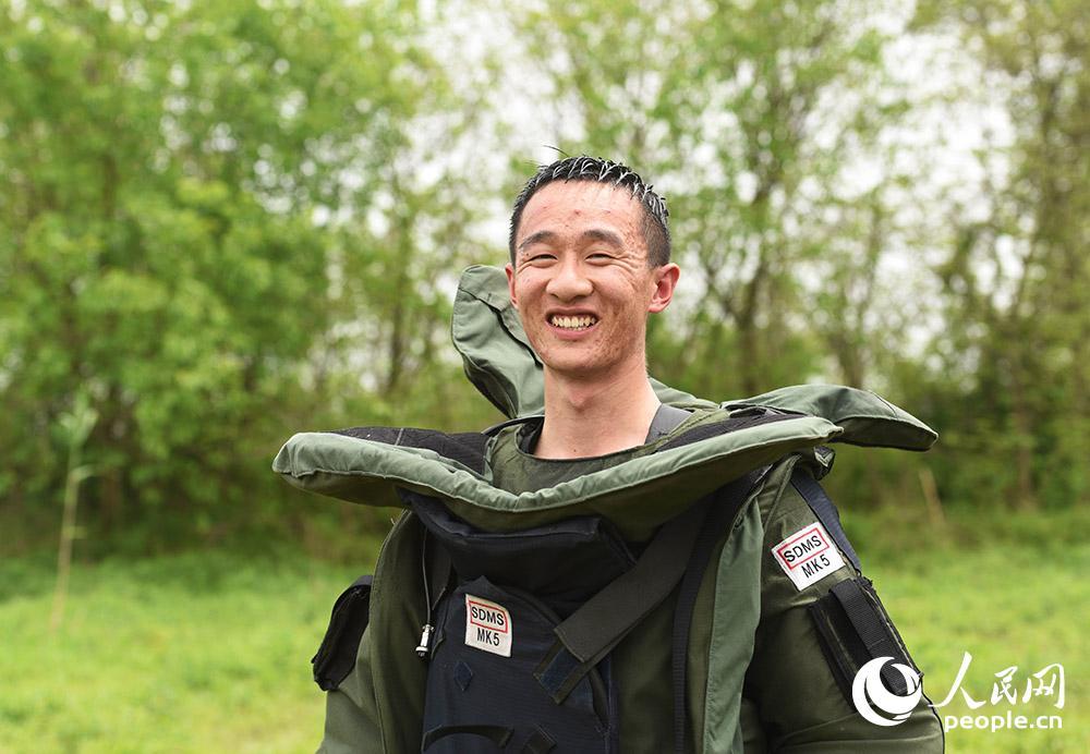 姚文強在訓練間隙露出了燦爛的笑臉。