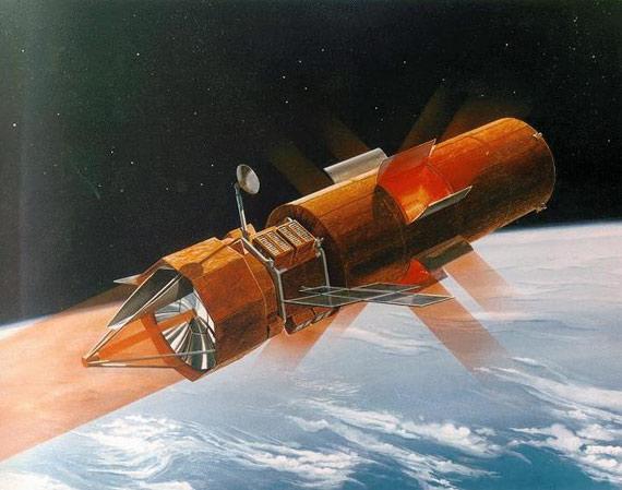 美国的太空反卫星武器示意图