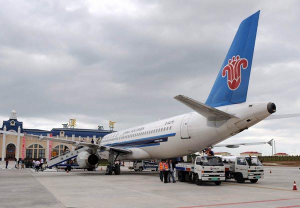 一架由北京经哈尔滨飞往漠河的飞机