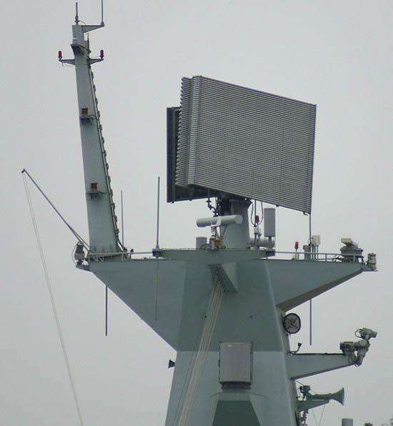 资料图:中国054a级新型护卫舰上安装的三坐标雷达