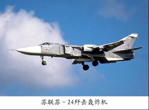 苏联苏霍伊实验设计局研制的双座双发变后掠翼超音速歼击轰炸机(见图)。北大西洋条约组织给予绰号击剑手(Fencer)。主要用于对敌纵深目标实施遮断攻击,亦可带小型核弹进行战术核轰炸。1964年开始研制,1967年首飞,1974年装备部队。主要型别有:苏-19(击剑手A,试飞型)、苏-24(击剑手B,作战型)、苏-24(击剑手C,改进型)、苏-24M(击剑手D,攻击型)、苏-24MR(击剑手E,侦察/电子战型)、苏-24MP(击剑手F,侦察型)、苏-24MK(最新改进作战型)等型