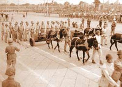 1949年国庆阅兵参阅火炮由骡马牵引通过天安门-1949年开国大典阅兵
