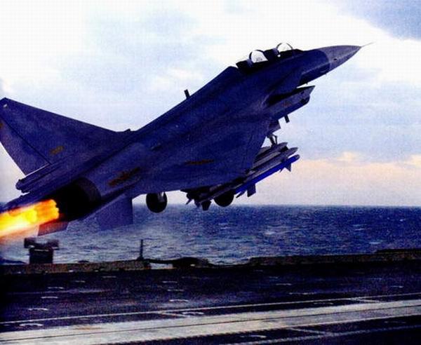 歼-10c型舰载机从航母上起飞想像图