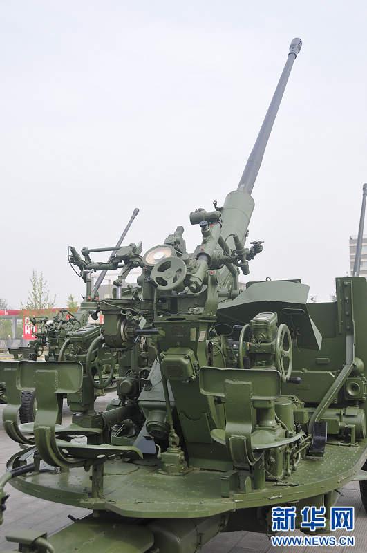 中国 高射炮/高清:中国预备役部队59式57毫米高射炮特写//