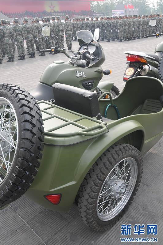 高清:中国预备役部队嘉陵JH600BJ型三轮摩托